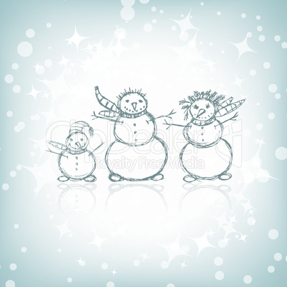 Family of snowmen, christmas sketch for your design