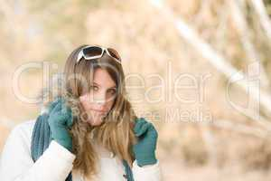 Winter fashion - woman with sunglasses
