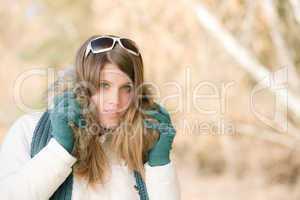 Winter fashion - woman with fur hood