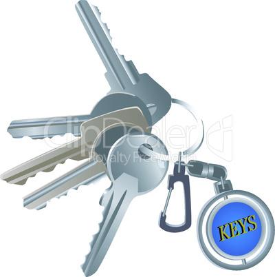 Set of various keys on a charm