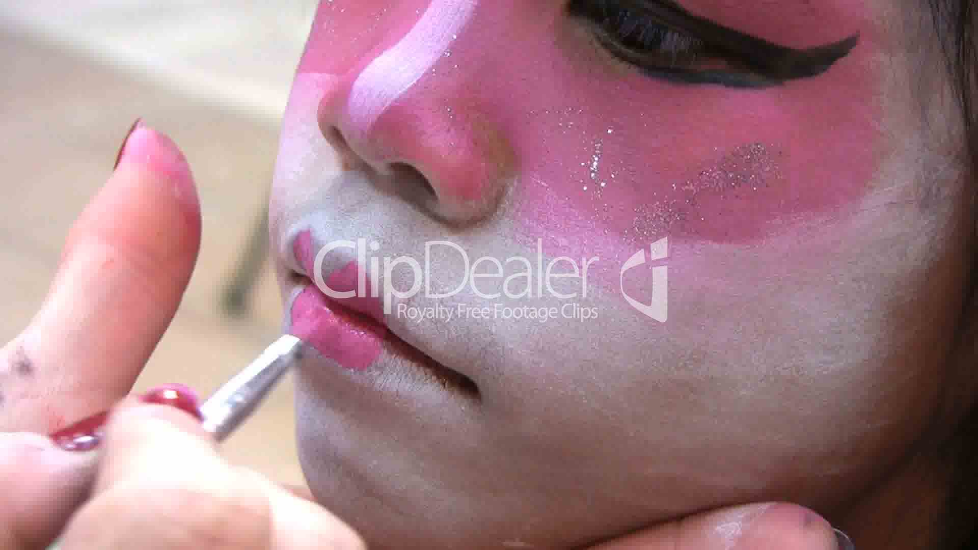 Japanese Face Painting-Lips Royalty-Free Video And Stock Footage-8248