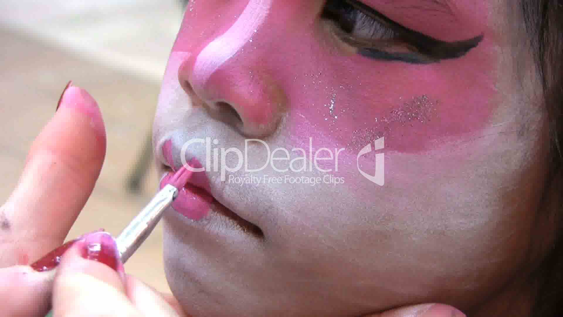 Japanese Face Painting-Lips Royalty-Free Video And Stock -1470