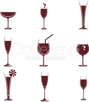 wine in different glasses