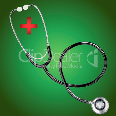 stethoscope with red  cross