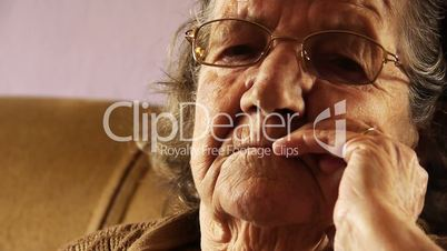 Senior old woman face wrinkle skin close up 2