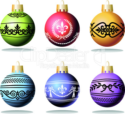 Christmas balls with ornaments