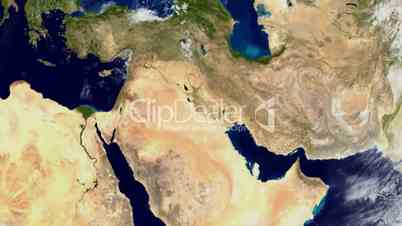 Zoom into the middle east from space