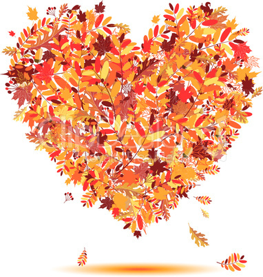 I love autumn! Heart shape from falling leaves