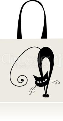 Black cat graceful, design of shopping bag
