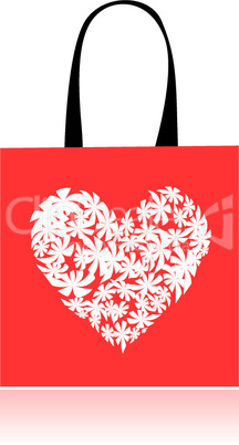 Shopping bag design, floral heart shape