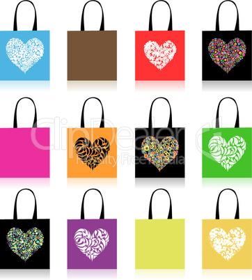 Shopping bags design, floral heart shape