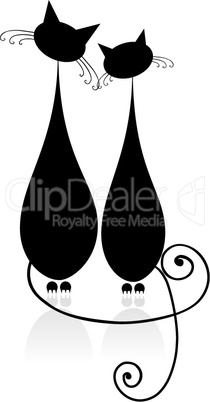Couple cats sitting together, silhouette for your design