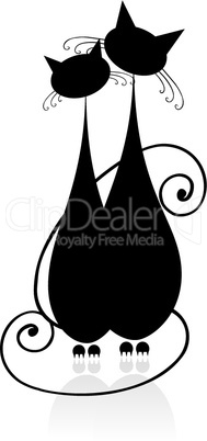 Couple cats sitting together, black silhouette for your design