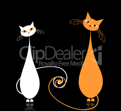 Couple white cats sitting together, silhouette for your design