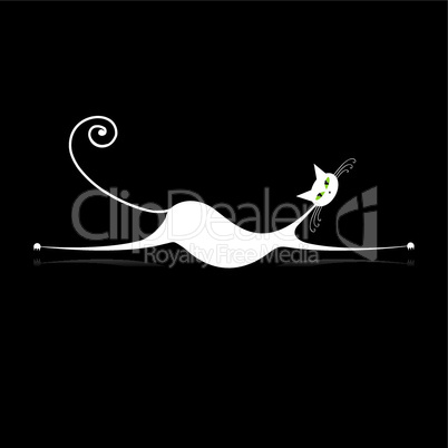 Graceful white cat silhouette for your design