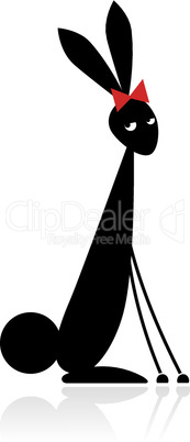 Bunny black silhouette for your design