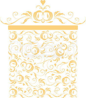 Golden gift box stylized, floral ornament design