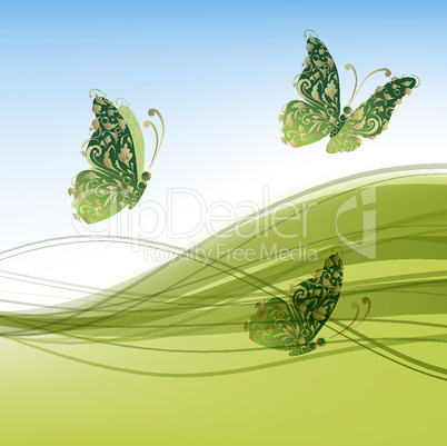 Green background with beautiful butterflies for your design