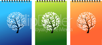 Notebook covers design, art tree