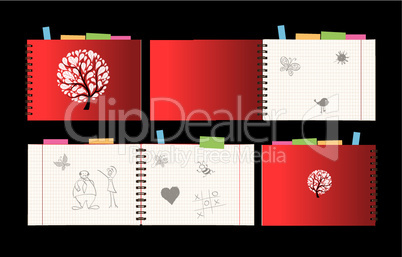 Notebook design, cover and open pages