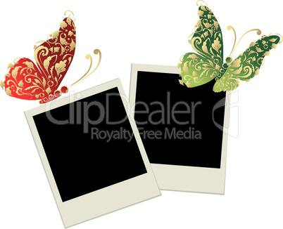 Two photo frames with butterfly decoration