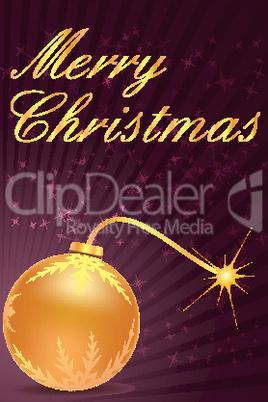 merry christmas card with ball