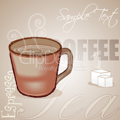 coffee cup with sample text