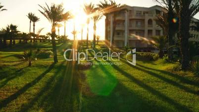 Sunrise in the hotel of Tunisia time lapse