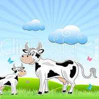 sketchy cow with mammal in field