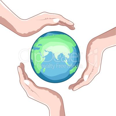 Globus und Hände