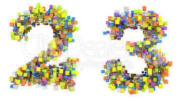 Abstract cubic font 2 and 3 figures