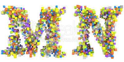 Abstract cubic font M and N letters isolated