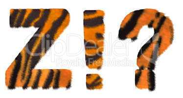 Tiger fell font Z and Wow What symbols