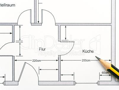 Tür detail grundriss  Grundriss Wohnung Küche - ground plan: Lizenzfreie Bilder und Fotos
