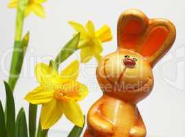 Happy Easter Bunny - Lustiger Osterhase mit Blumen