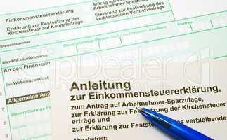 Formular Finanzamt: Einkommensteuer-Erklärung