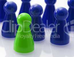 Leadership - Concept blue green