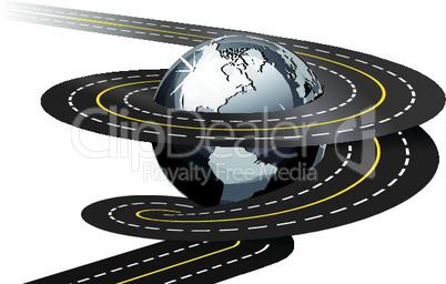 Straße um Weltkugel