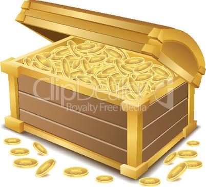 Holztruhe mit Goldmünzen