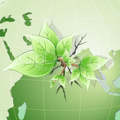 Pflanze auf dem Globus