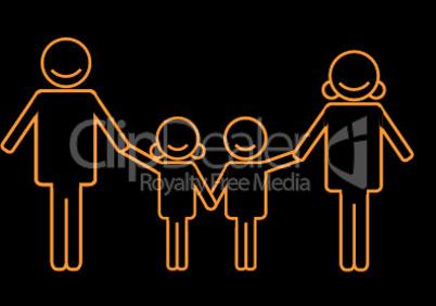 Silhouette von Familie