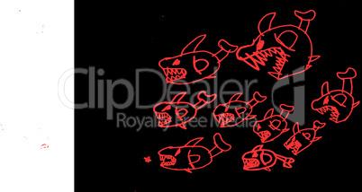 piranhas -Schwarm jagdt