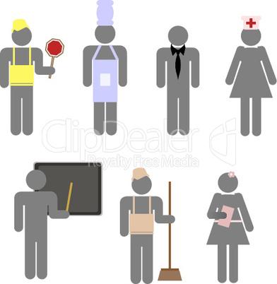 Icons von Arbeitern
