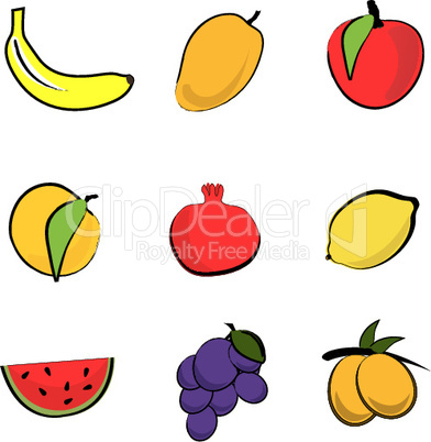 illustration of fresh fruits
