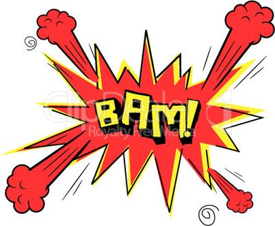illustration of bam text