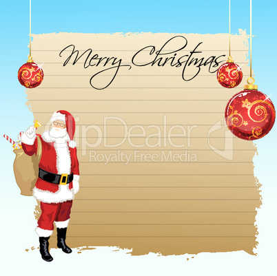 illustration of merry christmas card with santa