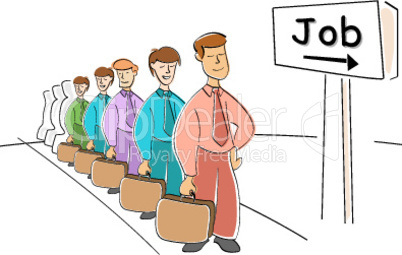 men waiting for job