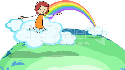 girl on cloud with rainbow