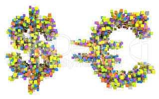 Abstract cubes US dollar and euro symbols