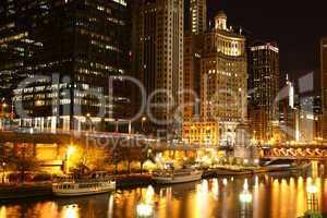 Chicago riverside at night